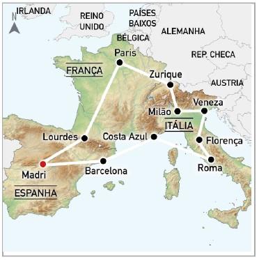 MAPA TOUR A EUROPA